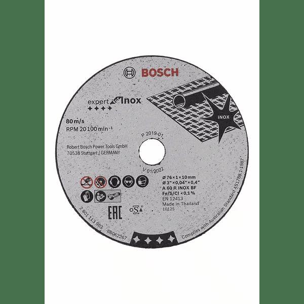 5 un. Disco de corte inox para rebarbadora 76mm Expert for inox BOSCH