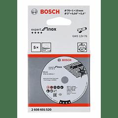 5 un. Disco de corte inox 76mm Expert for Inox BOSCH