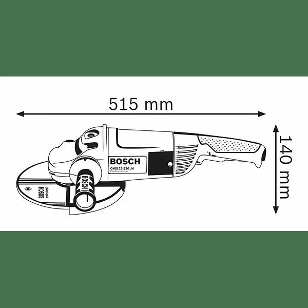 Rebarbadora grande 2200 W 230mm GWS 22-230 JH + DD + Mala BOSCH