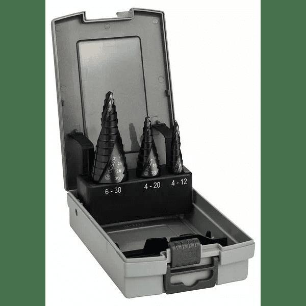 Conjunto 3 brocas escalonadas para metal HSS-AlTiN BOSCH