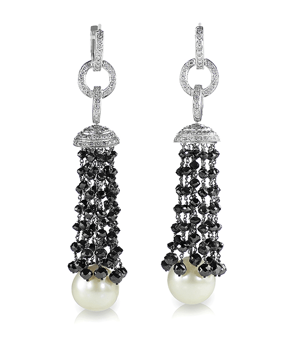 Black Onyx and diamonds earrings