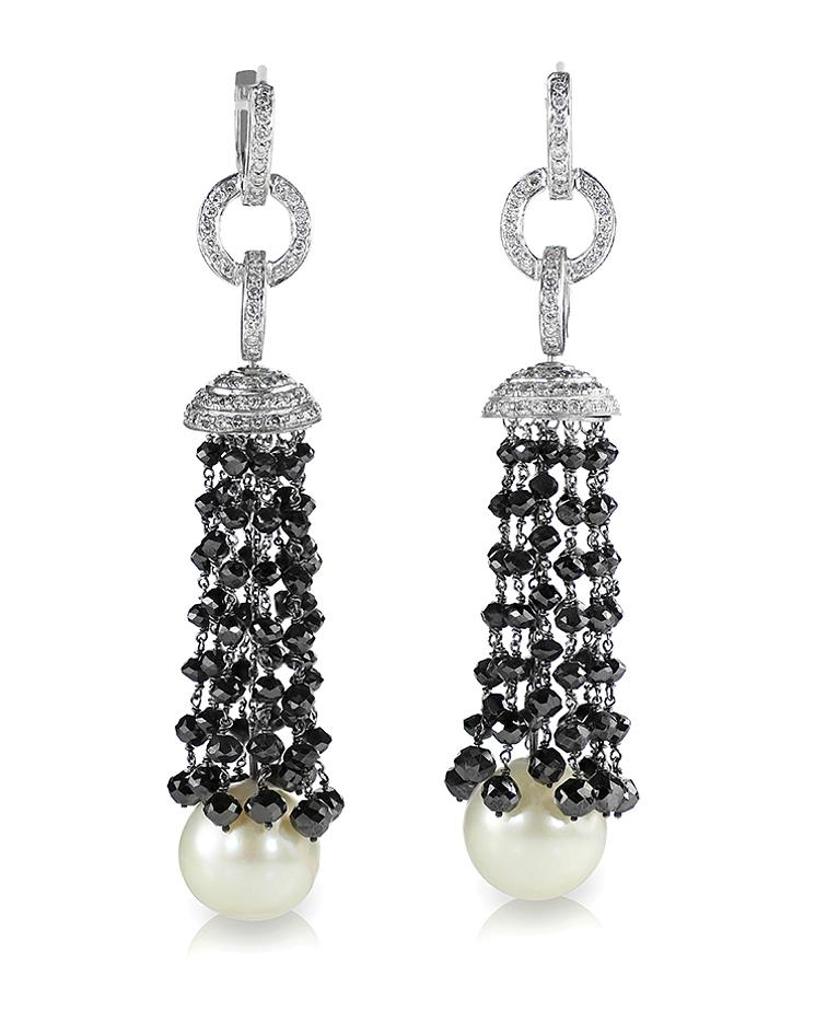 Black Onyx and diamonds earrings