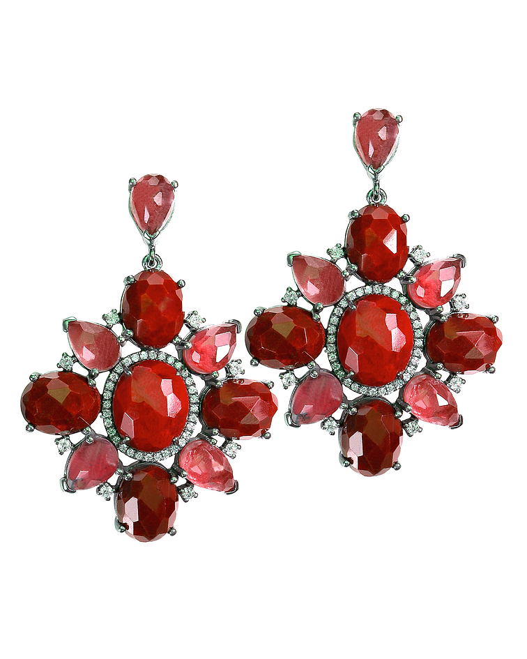 Ruby Red Drop Gem Earrings