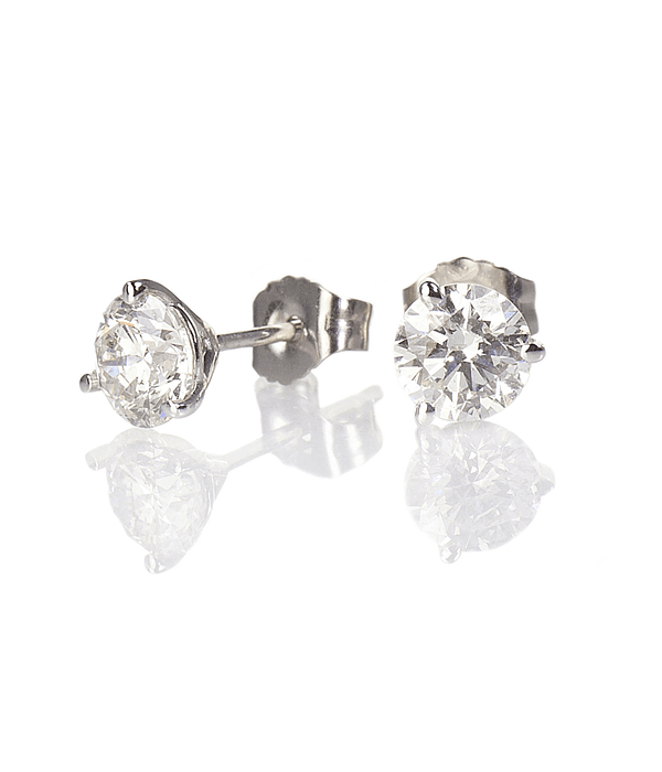 Shiny Round Fine Diamond Earrings