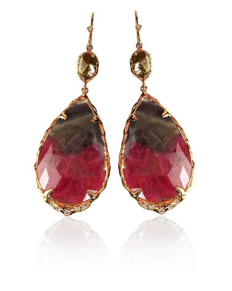 Red brown and carnelian green earrings