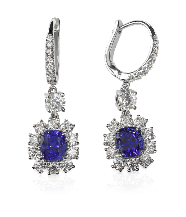 Blue Sapphire Tanzanite Diamond Gemstone Earrings