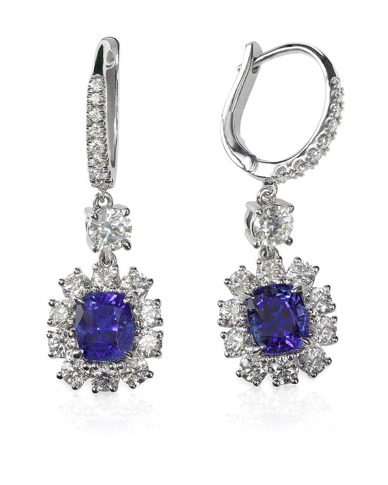 Blue Sapphire Tanzanite Diamond Gemstone Earrings
