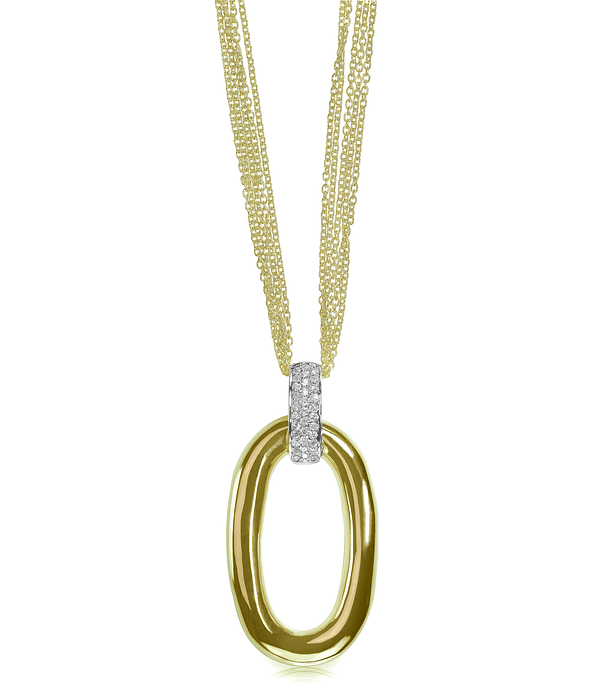 Gold multi-chain drop pendant necklace with diamonds