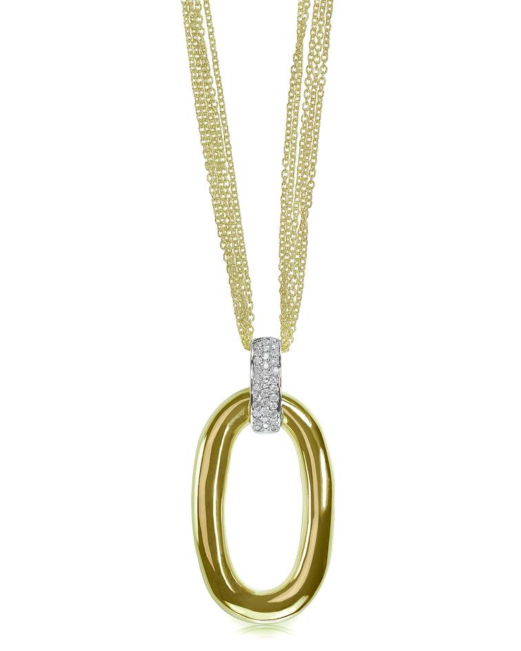 Gold multi-chain drop pendant necklace with diamonds