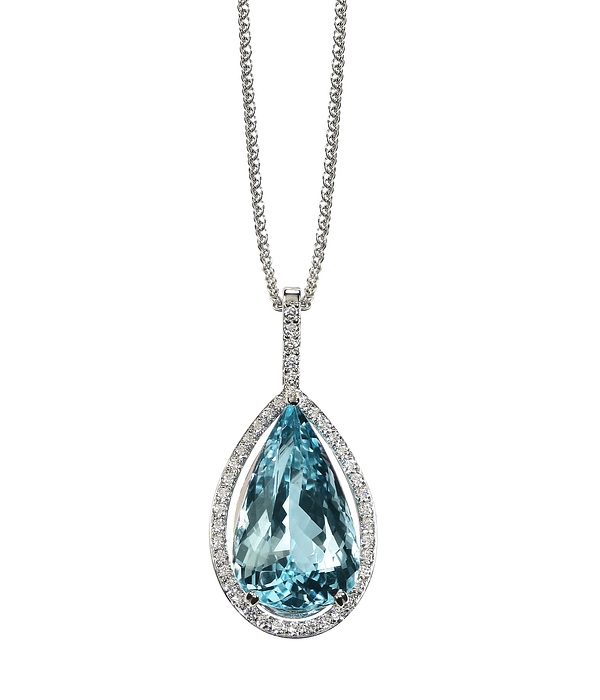 Pear Shaped Blue Topaz Drop Halo Necklace on a Chain