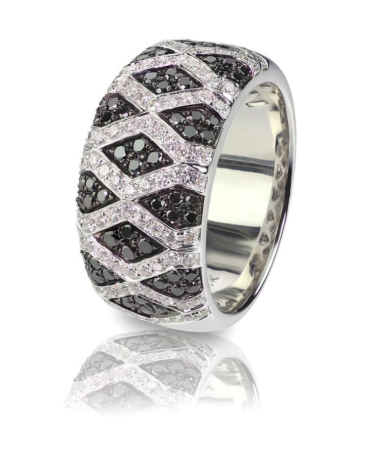 Wedding anniversary ring with diamonds and black onyx