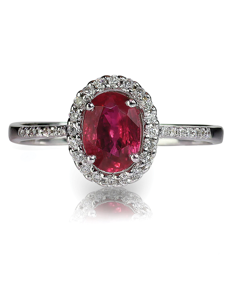 Ruby and Oval Shaped Red Diamond Ring