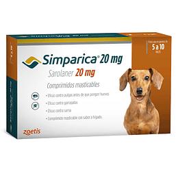 SIMPARICA 3 COMPRIMIDOS 5 - 10 K. 20 MG