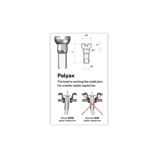 SAPIM NIPLE POLYAX BRONCE 14G/12MM PLATEADO (100 U)