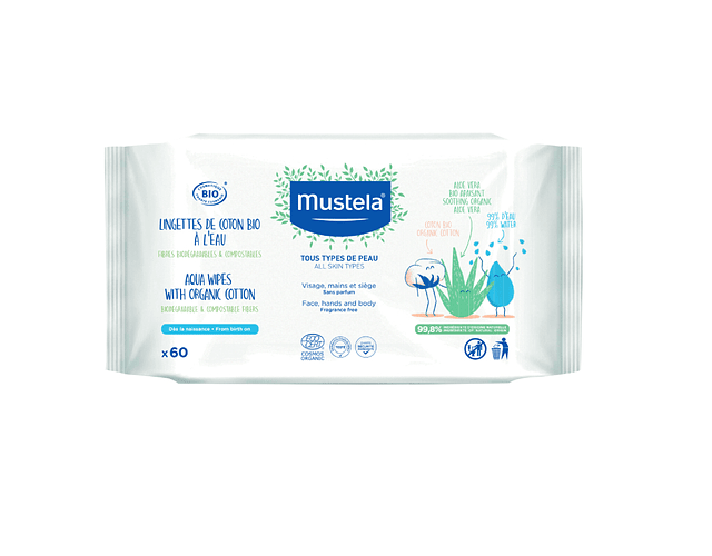 Mustela Bebé Toalhete de Limpeza de Água 60 unidades