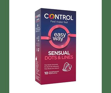 Control Preservativo Sensual Dots and Lines Easy Way x 10 unidades