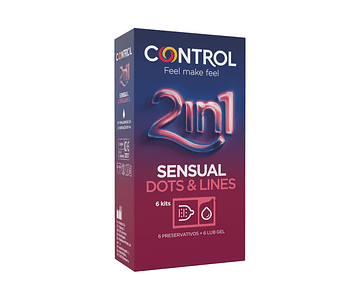 Control Sensual Dots and Lines 2in1 x 6 unidades