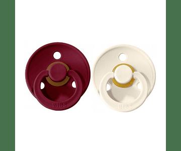 Chupetas BIBS 0-6m Ivory/Ruby  x2
