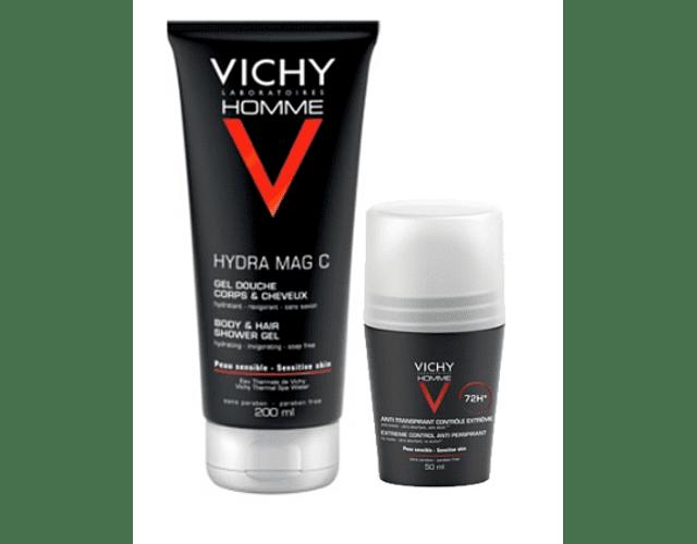 Vichy Homme DUO Higiene Hydra Mag C+ 200 mL + Deo Roll-On 72h 50 mL
