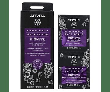 Apivita Express Beauty Esfoliante Iluminador De Mirtilo 2x8 mL