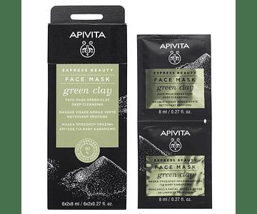 Apivita Express Beauty Máscara Limpeza Profunda De Argila Verde 2x8 mL