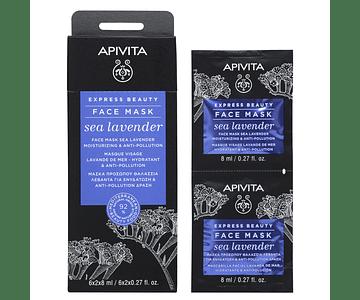 Apivita Express Beauty Máscara Hidratante & Antipoluição De Lavanda-Do-Mar 2x8 mL