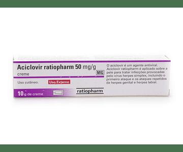 Aciclovir Ratiopharm MG, 50 mg/g-10 g x 1 creme bisnaga