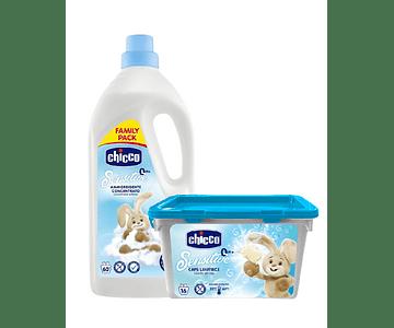 Chicco Pack Detergente 16 Cápsulas + Amaciador Roupa Talco 1,5L