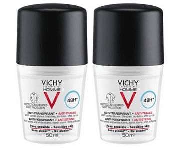 Vichy Homme DUO Deo Roll-On Antimanchas 48 horas 2x50 mL