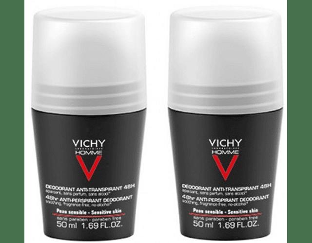 Vichy Homme DUO Deo Roll-On Pele Sensível 2x50 mL
