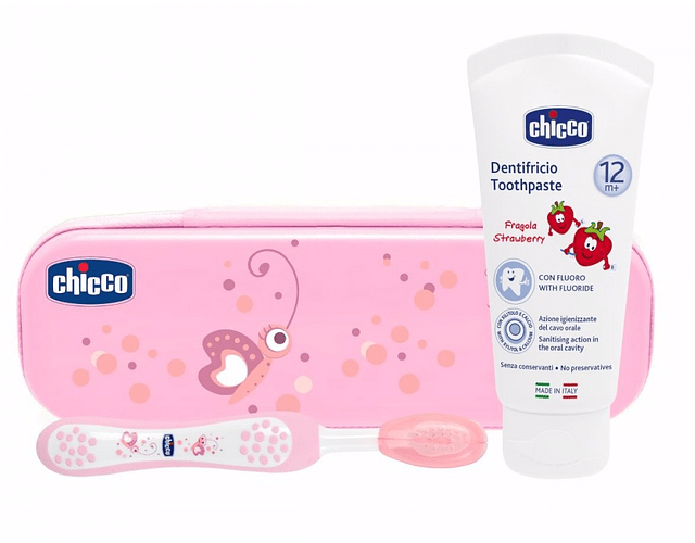 Chicco Estojo Higiene Oral +12 meses Rosa