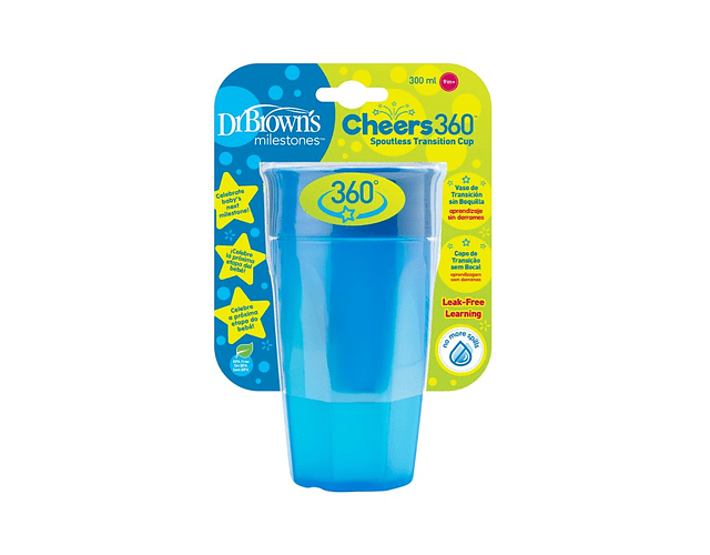 Dr Brown's Cheers 360 Copo Transição S/Bocal +9 meses 300 mL Azul