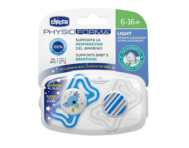 Chicco Chupeta Physio Light Luminosa Silicone 6-16 meses Azul