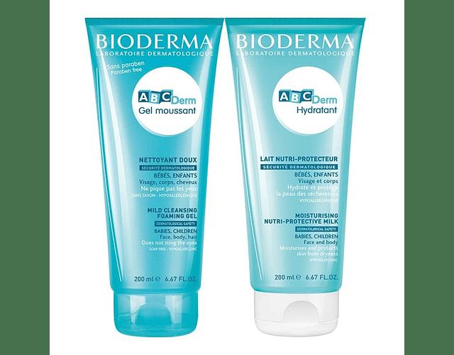 Bioderma ABCDerm Gel Moussant 200 mL + Leite Hidratante 200 mL