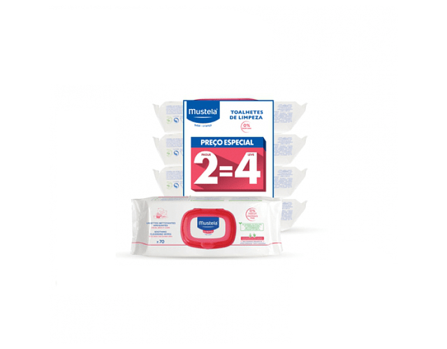 Mustela Bebe Toalhetes de Limpeza sem Perfume 70 unid. 2=4 (Pack Promocional)