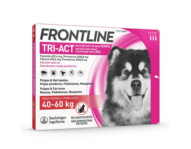 Frontline Tri-Act Cão 40-60kg 6 mL x 3 pipetas