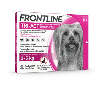 Frontline Tri-Act Cão 2-5kg 0,5 mL x 3 pipetas