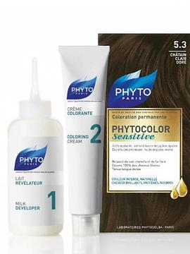 Phyto Phytocolor Sensitive. Coloração Permanente Cor 5.3 Castanho Claro Dourado