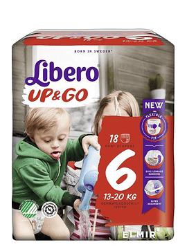 Libero Up&Go Fraldas Tamanho 6 -  13-20 Kg (18 unidades)