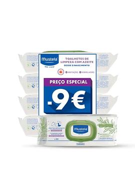 Mustela Bebé Toalhetes de Limpeza com Azeite 4x50 Unidades