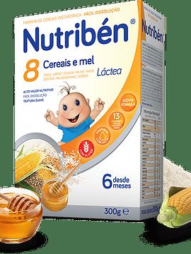 Nutribén Farinha Láctea 8 Cereais e Mel 6m+  - 300g