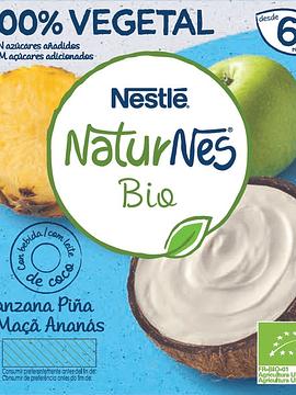Nestlé Naturnes Bio Leite de Coco, Maçã e Ananás x4 90g