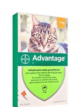 Advantage Gato Solução 0,4mlx4 Até kg solução punctiforme VET