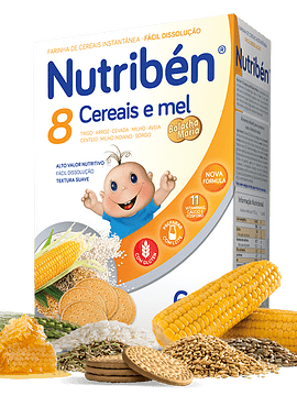 Nutribén Farinha 8 Cereais, Mel e Bolacha Maria 6m+ - 300g