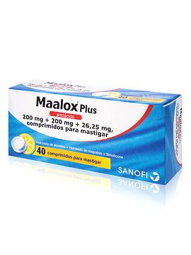 Maalox Plus, 200/200/26,25mg x 40 comprimidos mastigáveis