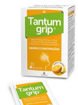 Tantumgrip sabor a laranja, 600/10 mg x 10 pó solução oral saquetas