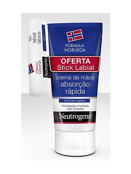 Neutrogena Creme Mãos Absorção Rápida Textura Ligeira +Oferta Stick Labial Hidratante