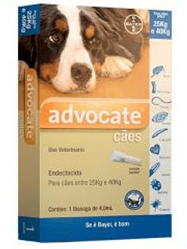 Advocate Cães 25-40kg, 400/100mg 4mlx3 Pipetas Solução Punctiforme
