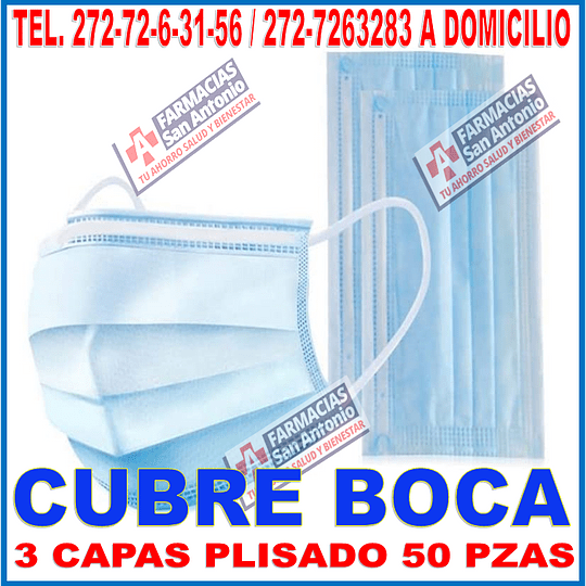 Cubrebocas plisados 3 capas ajuste nasal