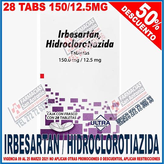 Irbesartan Hidroclortiazida 150/12.5mg   28tab